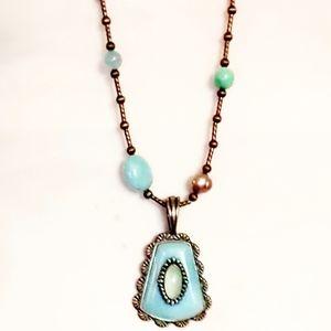 VTG Carolyn Pollack Larimar/Turquoise Necklace